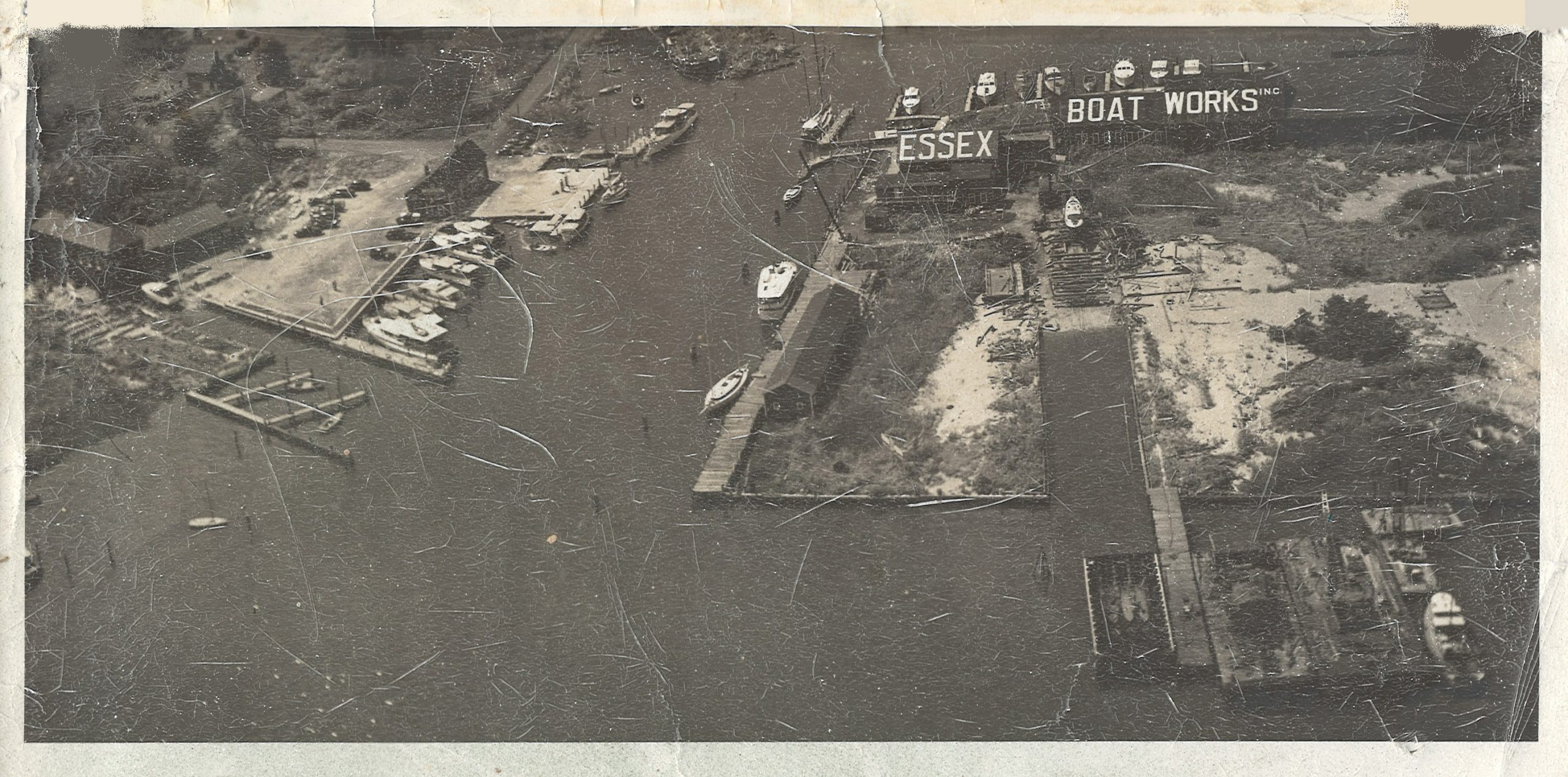 Aerial view of Essex Boat Works Circa 1940
