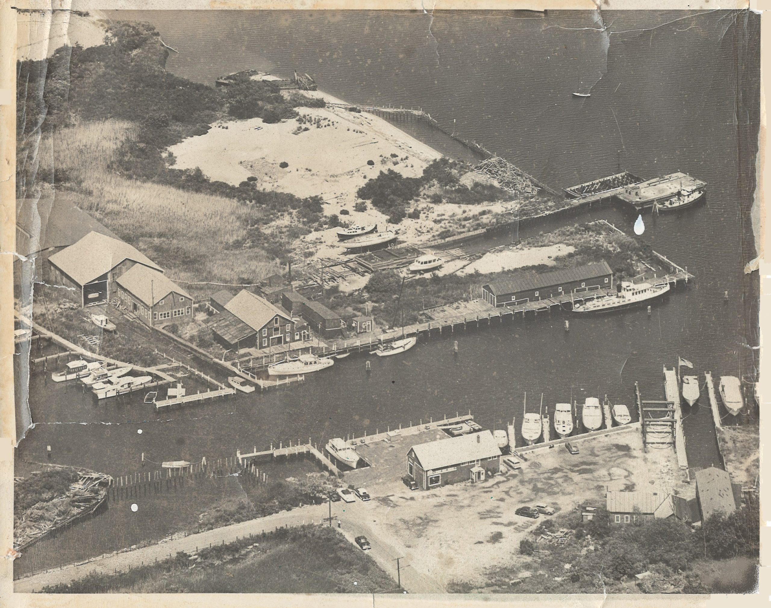 Aerial view of Essex Boat Works Circa 1954